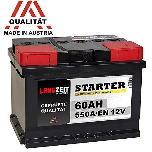 LANGZEIT Autobatterie 12V 60Ah ersetzt 53Ah 54Ah 55Ah 56Ah 61Ah 62Ah