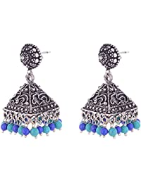 Oxodised Silver Jhumka With Terquise And Lapis Beads With Stud