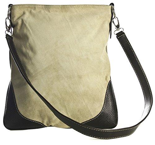 Big Handbag Shop - Borsa a tracolla da donna, stile messenger, in vera pelle scamosciata italiana, sintetica, con finte cuciture Beige (BR499)
