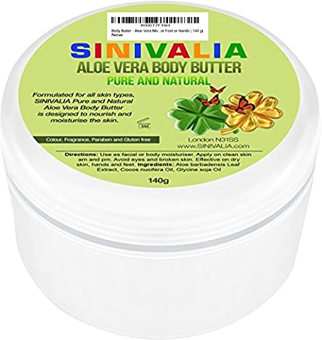 Body Butter - Aloe Vera Moisturiser for Dry Skin on Face and Body or Damaged Hair   Anti -Ageing Skin Care for Feet or Hands   140