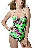 FEOYA - Ropa de Baño Bañador Mujer Tallas Grandes Reductor Push up Traje de Natación Una pieza Swimsuit Backless Estampado Floral - Verde - Talla 3XL (ES 42-44)
