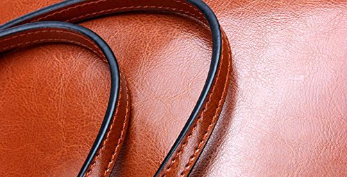 Moda Pelle Bovina Tote per Donne le signore Genuino Tracolla in Pelle Della Borsa - Arancione, Versione Orizzontale Marrone, Versione Verticale