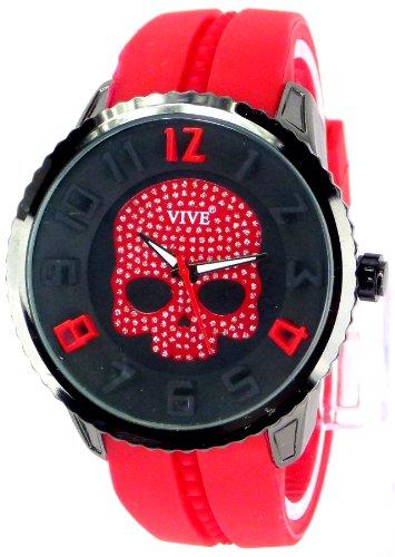 Calavera remo diseño deportivo de 3D-Reloj para hombre diseño elegante Diseño de calavera roja en la fina de oro rosa rosado colour titanio