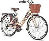 breluxx 28 Zoll Damenfahrrad Venera Fashion Mocha Caffe Citybike Korb + Licht Retro Damenrad, 6 Gang Shimano