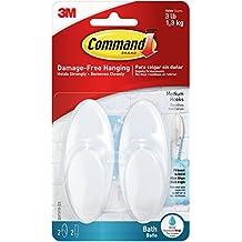 Command Bath Hook 2/Pkg-2 White Hooks & 2 Strips