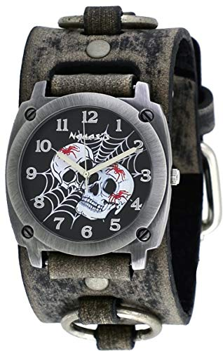 Nemesis #FRB931K Men's Web of Skulls Wide Grey Leather Cuff Band Watch