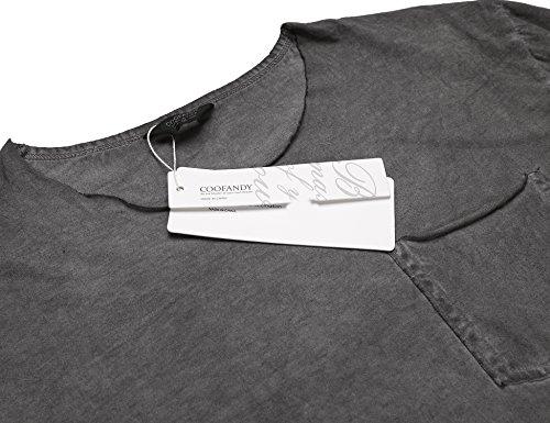 COOFANDY Herren T-shirt Denimshirt Sommershirts O-Neck Slim Fit Freizeit Party Basis Einfarbig used look Dunkelgrau