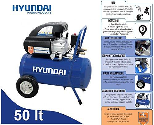 Compressore 50lt. ad olio con ruote pneumatiche Hyundai - BAMA