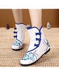 056061afd4f3a6 KHSKX-Peking Alte Schuhe Bestickte Boots Folk Verstärkte Weibliche Kurze  Stiefel Lässige Stiefel Stiefel Martin