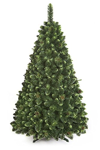 ARBOL NAVIDAD GRANDE De oliva pino con cristales Nuevo, en caja, bosque tradicional Verde Lujo con Soporte - 150cm - OLIVE PINE