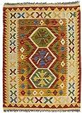 CarpetFine: Kelim Afghan Teppich 84x113 Beige,Rot - Geometrisch