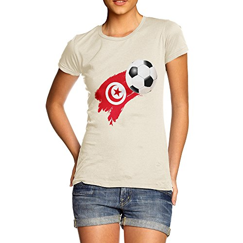 TWISTED ENVY Funny T-Shirts for Women Tunisia Football Soccer Flag Paint Splat