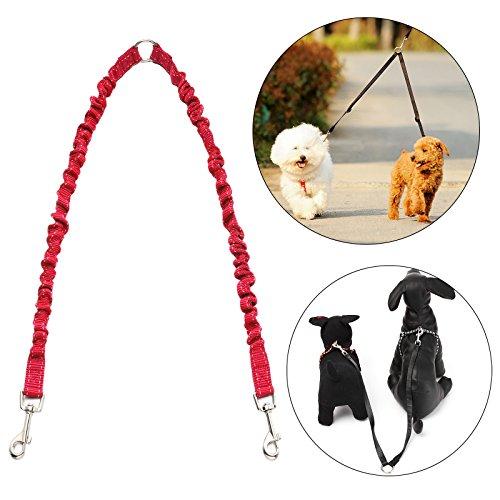 Zwillingsleine | Hundeleine für 2 Hunde | Dehnbare Reflektierende Doppel-Leine 50 cm bis 80 cm mit Weichem Griff | 50kg bei Jeder Erweiterung