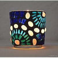 Handgefertigtes Windlicht Perlenstern 7 cm hoch