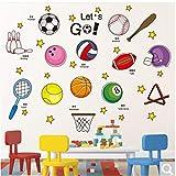 BKLKBL Adesivi murali autoadesivi Studenti dormitorio Scuola Sport Aula Decorazione murale Calcio Basket Baseball Badminton Una Palla Famosa Media