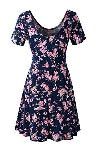 Jc.Kube Damen Kleid Slim-Fit armlos mit Blumendruck BlueFL
