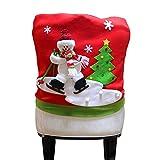 MAYOGO Weihnachten Stuhl Abdeckung Rot/Grün Weihnachtsmann Skifahren Muster Familie Hotel Esstisch Stuhl Dekoration 60 * 50cm/23.6 * 20.0