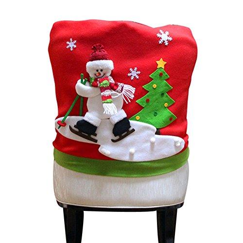 Producto navideño, JiaMeng Navidad Papá Noel Silla Cubierta Trasera muñeco de Nieve Elk esquí Cena Mesa decoración del Partido