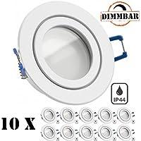 10er IP44 LED Einbaustrahler Set Weiß mit LED GU10 Markenstrahler von LEDANDO - 5W DIMMBAR - warmweiss - 110° Abstrahlwinkel - Feuchtraum / Badezimmer - 35W Ersatz - A+ - LED Spot 5 Watt rund