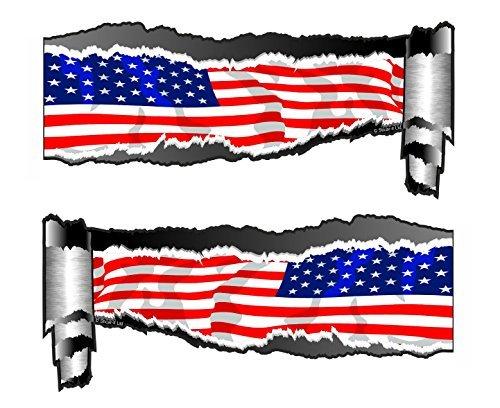Für Große Auto Flagge-aufkleber Amerikanische (groß Ein Paar Von Gerollt Rücken gerissen OFFEN ZERRISSEN metall effekt Design Mit Amerikanische Sterne & Streifen US Flagge Vinyl Auto Aufkleber 300x130mm each)