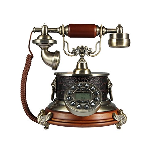 MMM- Retro / Antique / Telefon / Key Dialing / mit Freisprecheinrichtung und Anrufer-ID-Funktion, verdrahtete Telefon aus Legierung und Massivholz (Größe: 25 * 25 * 26,5 cm) Festnetz-Telefon (Schnurgebundene Freisprecheinrichtung, Anrufer-id)