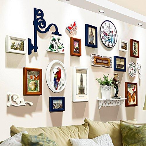 CGN Creative Fashion Photo Mur Salon Étagère Cadre mural Montres et horloges Combinaison Restaurant Cadre photo Design original Personnalité de la mode Contient des étagères, y compris la montre avec la gravure de la mode Beau ( Couleur : A )