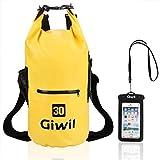 Giwil Dry Bag Borse Impermeabile, 100% impermeabile Roll Top Dry Bag Galleggiante può Essere Usato per la Navigazione, Trekking, Kayak, Canoa, Pesca, Rafting, Nuoto, Campeggio, Sci e Snowboard con Una Custodia Telefono Impermeabile Universale (giallo-30L)