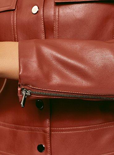 oodji Ultra Damen Kunstleder-Jacke mit Brusttaschen Rot (3100N)