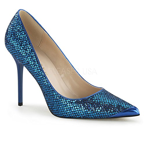 Pleaser Classique-20, Pumps da Donna Navy Blue Glittery Lame Fabric