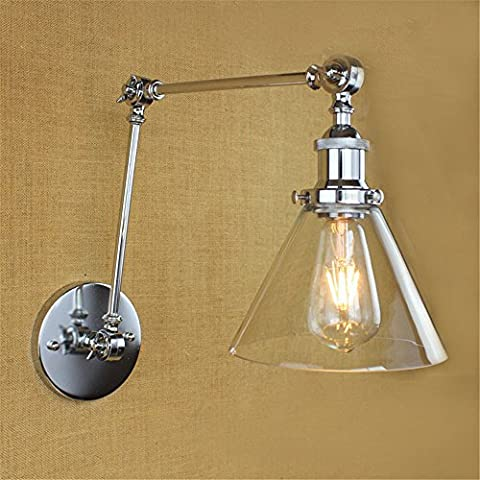 Larsure Vintage Industrial Style Wall Sconce Wall Light Lamp Chrome glass double-section long arm adjustment silver bedside bar KTV restaurant restaurant room wall lamp, diameter 185mm arm length