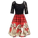 Xmiral Weihnachten Kleid Damen Elegant Vintage Xmas Print Langarm Abend Party Kostüm (L,Rot4)
