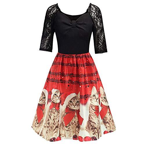 Xmiral Weihnachten Kleid Damen Elegant Vintage Xmas Print Langarm Abend Party Kostüm ()