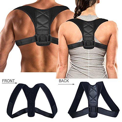 Corrección de la Postura - Delaman Corrección de la postura posterior, Soporte Ortopédico de la Espalda de la Correa para el Hombro para Hombres de las Mujeres, Negro