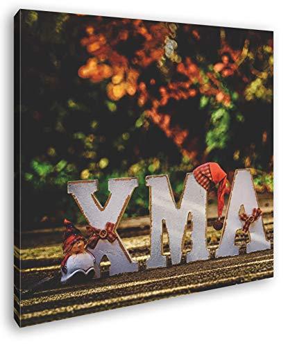 deyoli Weihnachtliche Grüße Format: 60x60 als Leinwand, Motiv fertig gerahmt auf Echtholzrahmen, Hochwertiger Digitaldruck mit Rahmen, Kein Poster oder Plakat