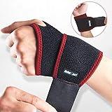 RHINOSPORT Handgelenk Bandagen Wrist Wraps Handgelenkbandage für Fitness, Bodybuilding, Kraftsport & Crossfit für Frauen und Männer Handgelenkschoner Handgelenkstütze (Rot, Linke -B)