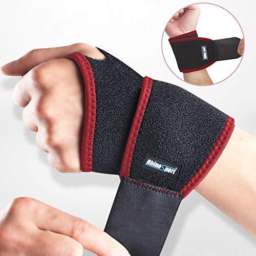 RhinoSport Handgelenk Bandagen Wrist Wraps Handgelenkbandage für Fitness, Bodybuilding, Kraftsport & Crossfit für Frauen und Männer Handgelenkschoner Handgelenkstütze(Recht)