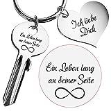 Geschenke 24: Schlüssel ein Leben lang an deiner Seite mit Gravur (Silber