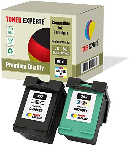 2 XL TONER EXPERTE® Druckerpatronen kompatibel für HP 337 343 Photosmart 2500 2570 2573 2575 C4100 C4110 C4140 C4150 C4180 C4190 D5160 8049 Officejet 6300 6310 6313 6315 Deskjet D4160 (Schwarz, Farbe) -