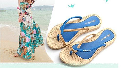 Minetom Donne Spiaggia Estate Vacanza Sandali Pantofole Peep Toe Flip Flops Blu