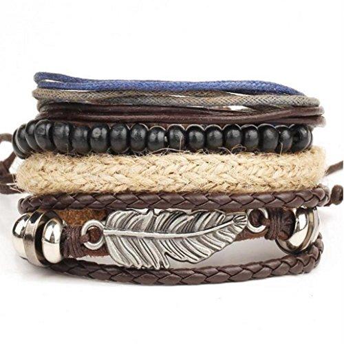 ❤️ Amlaiworld Pulsera de hombre Mujer Brazalete brazalete de cuero trenzado de acero inoxidable para hombres Mujeres (marrón)