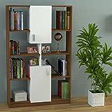 Homidea ACASIA Bücherregal - Büroregal - Standregal für Wohnzimmer oder Office in modernem design (Weiß/Nussbaum)