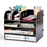 TZZ Büro Desktop Aufbewahrungsbox Schublade DIY Rahmen Dokumente Rack Ordentlich Desktop Organizer für Bürobedarf Haushalt Täglichen Notwendigkeiten Kosmetische Lagerung (Farbe : SCHWARZ)