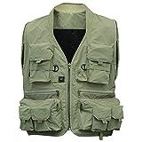 Leoie Fishing Vest,Men's Multifunction Pockets Travels Sports Fishing Vest Outdoor Vest L Khaki