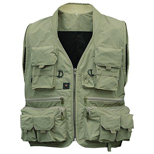 Leoie Fishing Vest,Men's Multifunction Pockets Travels Sports Fishing Vest Outdoor Vest L Khaki Green XL