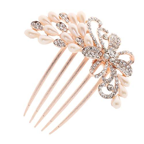 Sharplace Damen Perlen Stass Blume DIY Braut Hochzeit Haarkamm Haarschmuck - Style Zwei