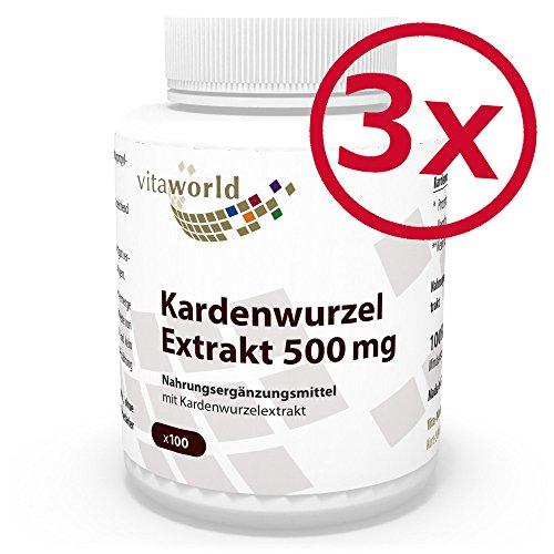 3er Pack Vita World Kardenwurzel-Extrakt 500mg 300 Vegi Kapseln Apotheker-Herstellung Karde
