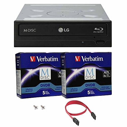 LG 16x Blu-ray M-Disc CD DVD BD BDXL Bluray-Brenner Laufwerk mit freiem 10pk Mdisc DVD + Kabel und Befestigungsschrauben WH16NS40