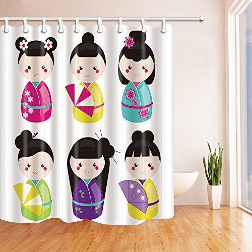 gohebe traditionellen japanischen Einrichtung Vorhänge Dusche durch Süße Japanische Puppe kawaii Kokeshi-Set Bad Vorhänge 180,3x 180,3cm Sakura Pink Gelb Violett Grün