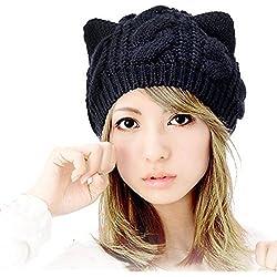 Nalmatoionme Lovely Mujer Orejas de Gato Estilo cálido de Lana Gorros Cap (Negro)