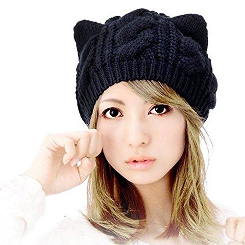 Nalmatoionme Lovely Mujer Orejas de Gato Estilo cálido de Lana Gorros Cap...